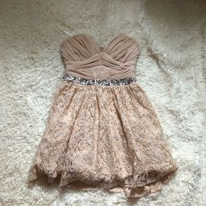 Blush nude lace dress